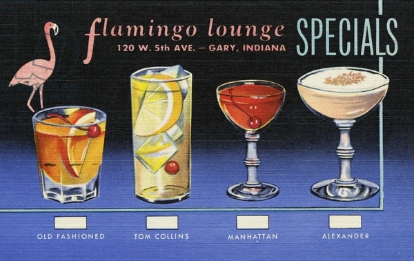 UIG553349 Flamingo Lounge Specials Menu and Drinks Card. 1952, Flamingo Lounge Specials Menu and Drinks Card; Lake County Discovery Museum/UIG;  out of copyright
